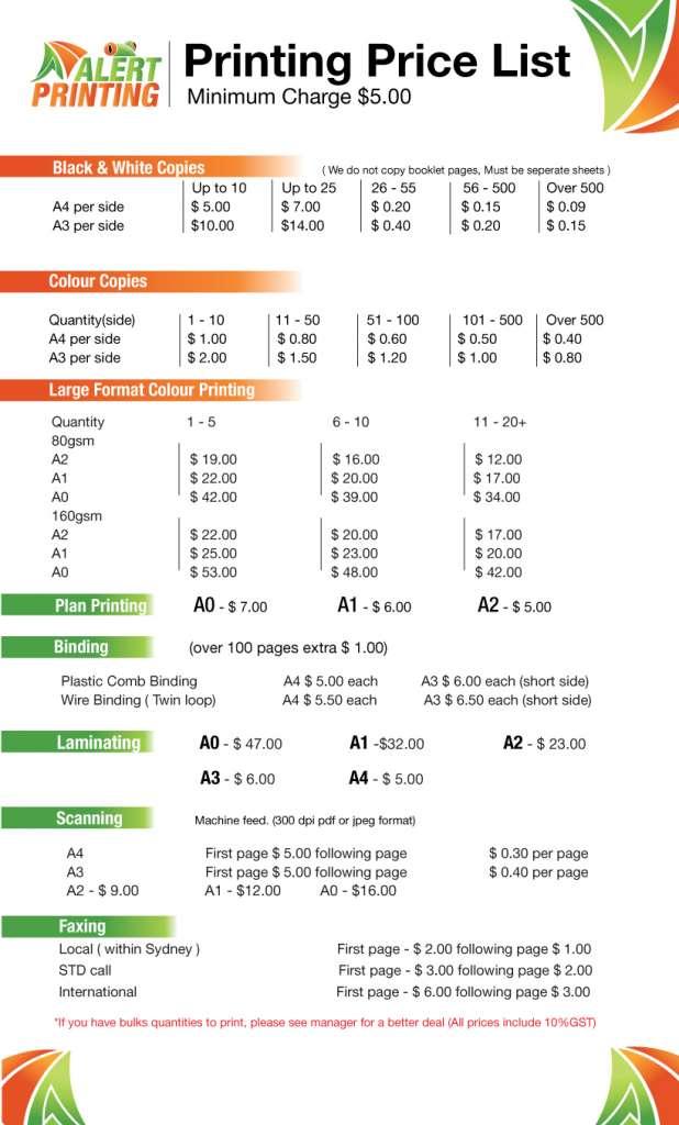 printing prices